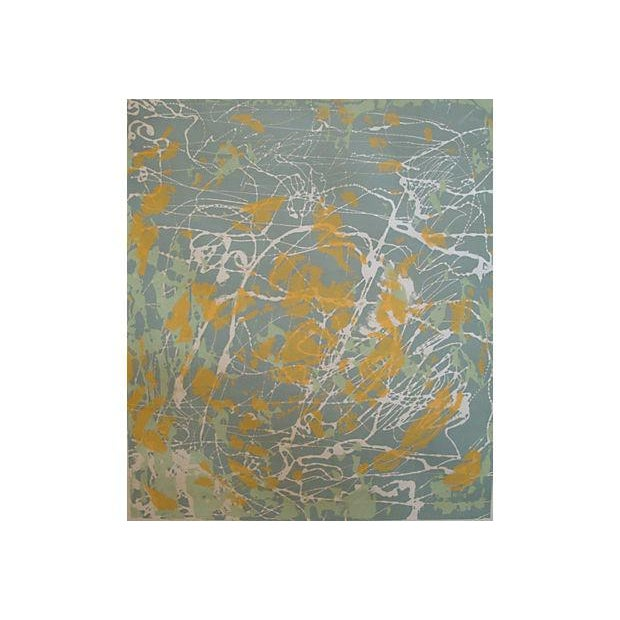 """Large abstract artist's proof monoprint splatter painting signed and dated by the artist """"M. Mallin, 1976"""" lower right,..."""