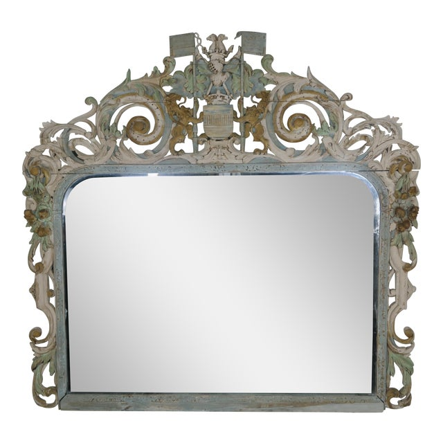 19th Century English Carved Wood Painted Mirror - Image 1 of 9