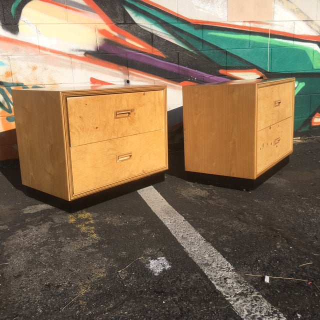 Burlwood Nightstands by Henredon-a Pair For Sale - Image 12 of 12
