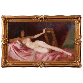 Maria Szantho, Original Oil on Canvas, Reclining Nude, Circa 1930 For Sale