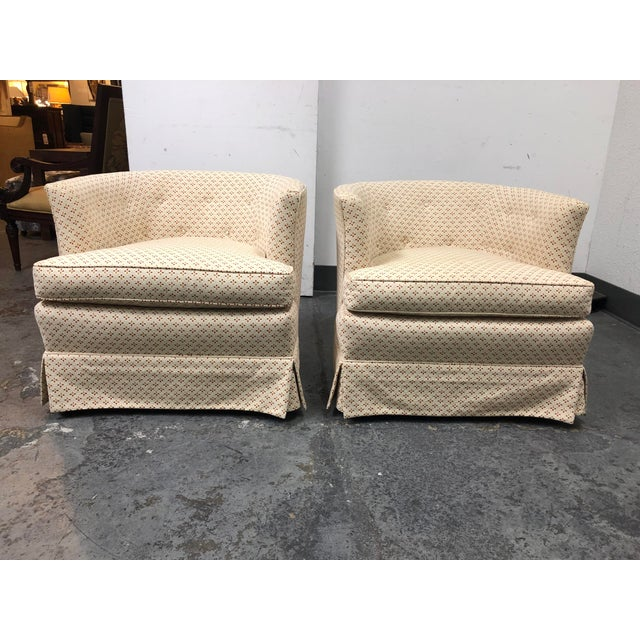 Hollywood Regency Henredon 1960's Roller Club Barrel Chairs - a Pair For Sale - Image 3 of 11
