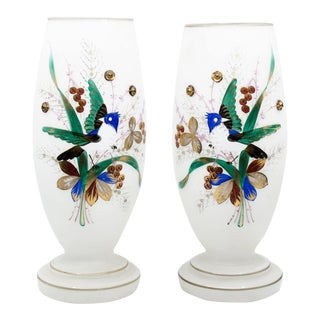 1930s Victorian Hand Painted Bristol Frosted Glass Vases - a Pair For Sale