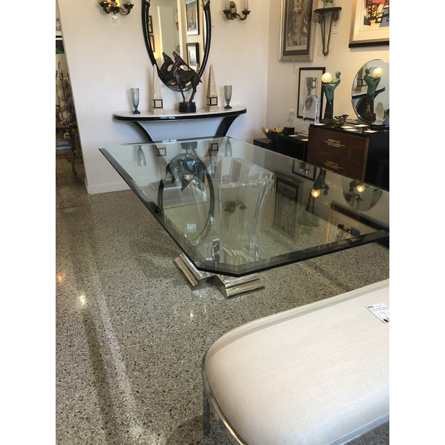 Bigelow Table Base in Lucite and Polished Brass 1980s For Sale - Image 12 of 12