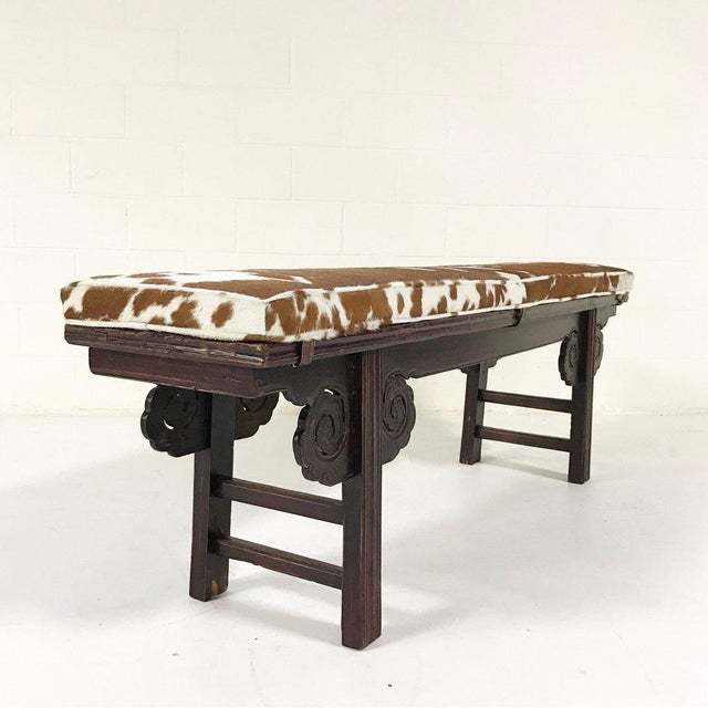 Forsyth One of a Kind Vintage Chinese Carved Bench with Custom Cowhide Cushion For Sale In Saint Louis - Image 6 of 10