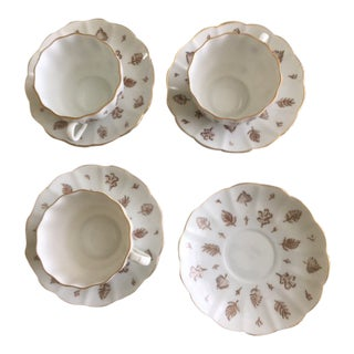 Arabia Finland Aulikki Vintage Demitasse Cups & Saucers - 7 Pieces For Sale