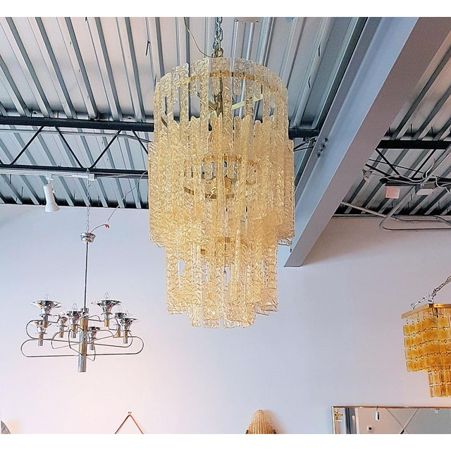 Mid century modern Mazzega gold hooks Murano interlocking glass elements chandelier - Image 3 of 7