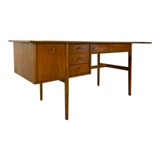 Drexel Parallel Walnut Extension Desk by Barney Flagg For Sale