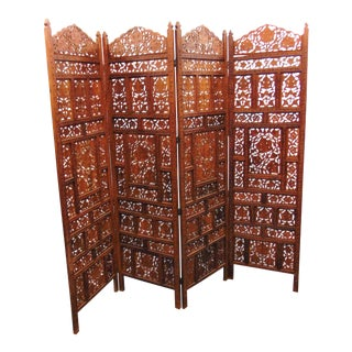 Mid Century Teak Carved Folding Dressing Screen For Sale