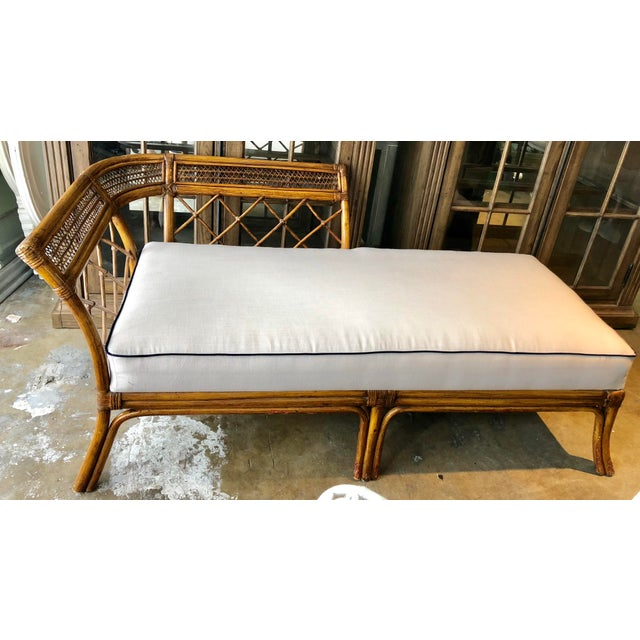 Bamboo & Linen Chaise For Sale In Miami - Image 6 of 10