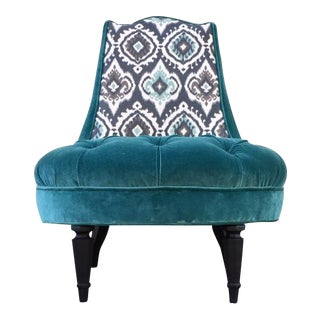 Vintage 1940s Velvet Tufted Chair For Sale