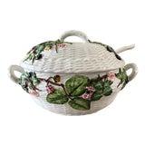 Image of Italian Majolica Basketweave Tureen With Spoon For Sale