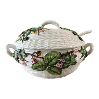 Italian Majolica Basketweave Tureen With Spoon For Sale
