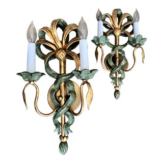 Early 20th Century Florentine Wood Sconces - a Pair For Sale