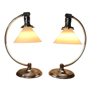 1930's Chase Chrome Art Deco Desk Lamps - a Pair For Sale