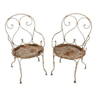 Rustic Francois Garden Armchairs - a Pair For Sale