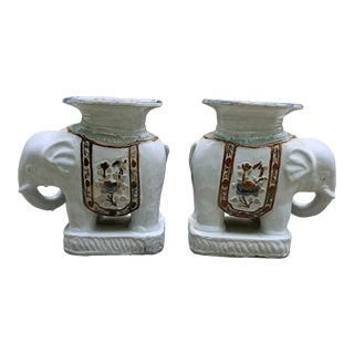Chinoiserie Decorative Ceramic Elephant Garden Stools - a Pair For Sale
