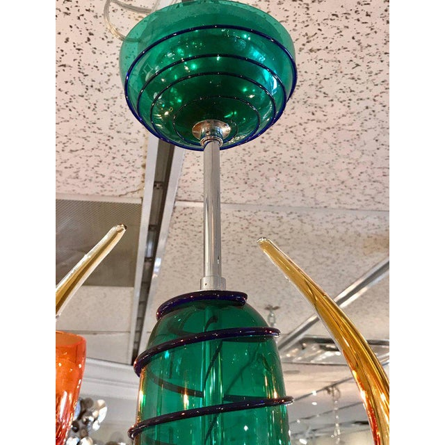 Colorful Italian Artimede Ve-Art Glass Chandelier in the Manner of Gio Ponti For Sale - Image 9 of 13