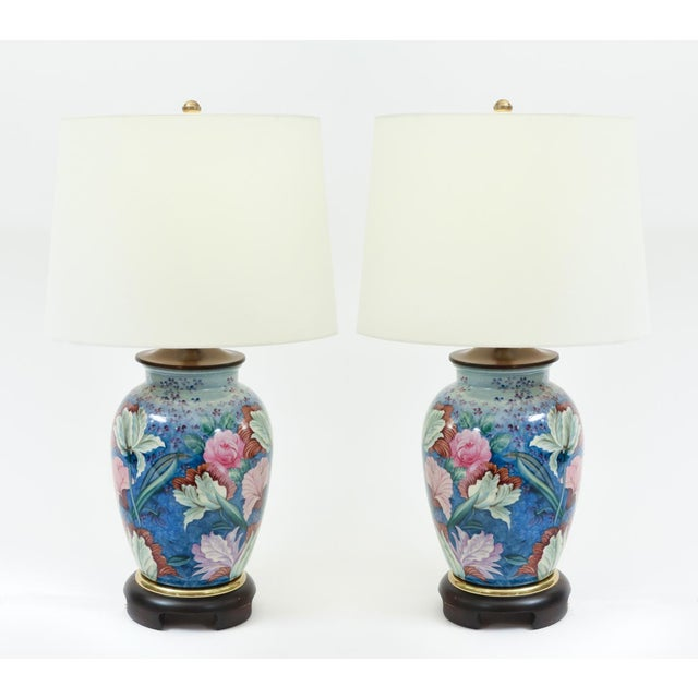 Late 19th Century Floral Porcelain With Mahogany Wood Base Table Lamps - a Pair For Sale - Image 5 of 10