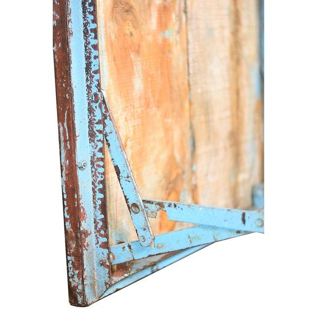 Vintage Blue Wood & Steel Folding Table - Image 4 of 4