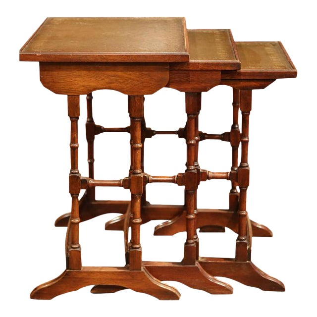 French Wooden Leather Top Nesting Tables - Set of 3 For Sale