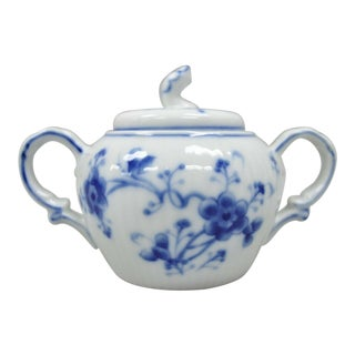Victoria Blue 7050 Double Handle Lidded Sugar Bowl by Sigma For Sale