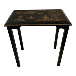 Asian Chinoiserie Wood Accent Table For Sale