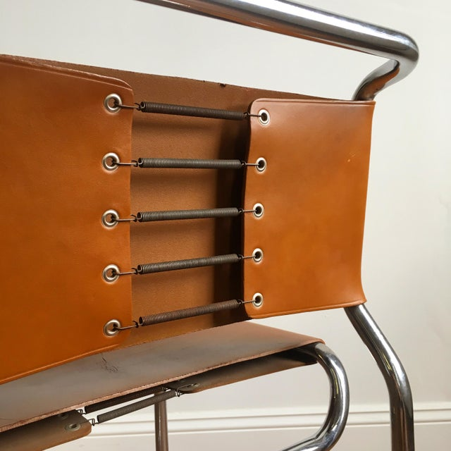 Vintage Oiled Leather & Chrome Cantilever Chairs by Nicos Zographos - Set of 4 For Sale - Image 6 of 9