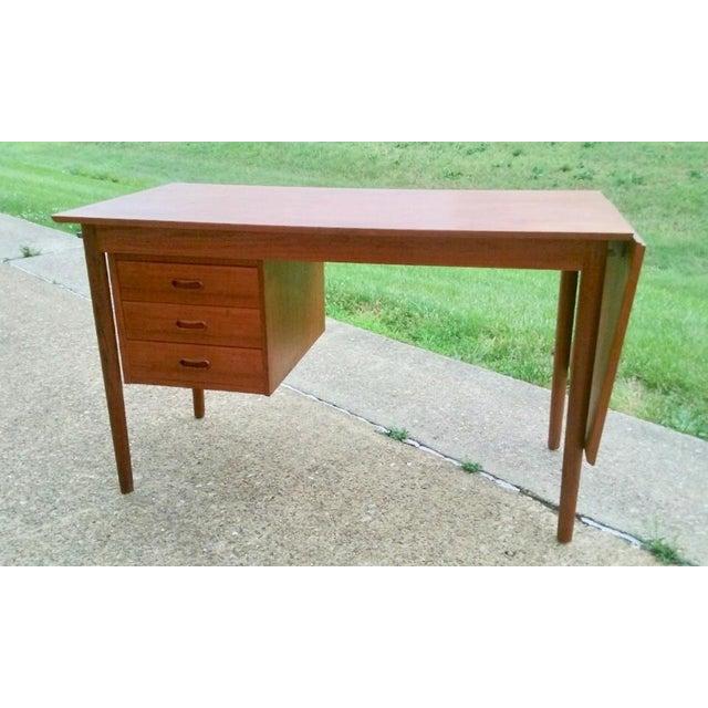 Mid 20th Century Circa 1960 Denmark, Arne Vodder Drop Leaf Teak Student Desk for H. Sigh & Sons Mobelfabrik For Sale - Image 5 of 5