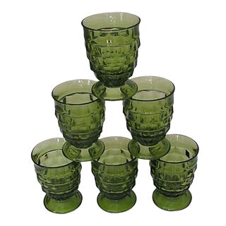 Mid-Century Green Faceted Goblets, S/6 For Sale