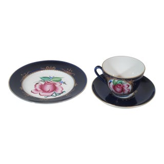 Hand Painted Russian Cup, Saucer and Plate - Set of 3 For Sale