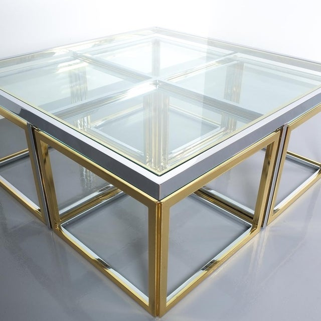 Square Segment Bicolor Brass Glass Coffee Table by Maison Charles, France 1975 For Sale - Image 11 of 13