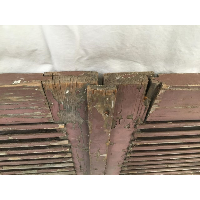 Antique French Painted Shutters - A Pair For Sale - Image 9 of 10
