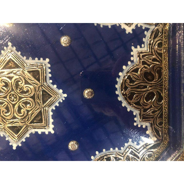 Moroccan Silver Metal Brass Inlaid Side Tables - a Pair For Sale - Image 11 of 13