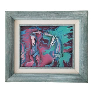 80's Modernist Mixed Media Collage Abstract Horses Painting , Signed . For Sale