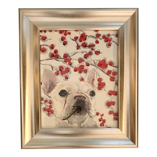 """White French Bull Dog Print by Contemporary Artist Judy Henn """"Crabapples """" For Sale"""