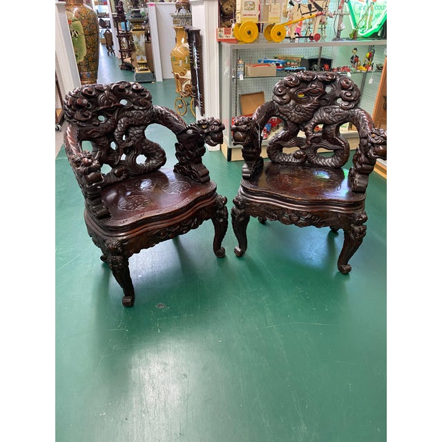 Vintage Carved Rosewood Oriental Dragon Chairs - a Pair For Sale - Image 12 of 12