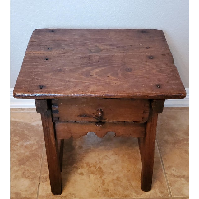 18th Century Early 18th Century Spanish Colonial Rustic Small Table For Sale - Image 5 of 12