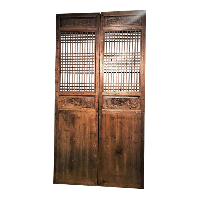 Carved Chinese Doors - A Pair For Sale