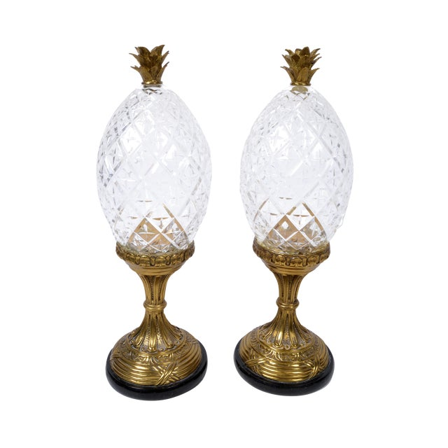 Maitland-Smith Bronze and Crystal Pineapple Ornaments, Germany, a Pair For Sale