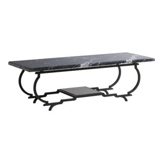 Nero Marquina Marble + Iron Frame Coffee Table For Sale