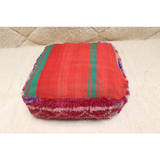 Textile Vintage Moroccan Wool Pouf Cover For Sale - Image 7 of 13
