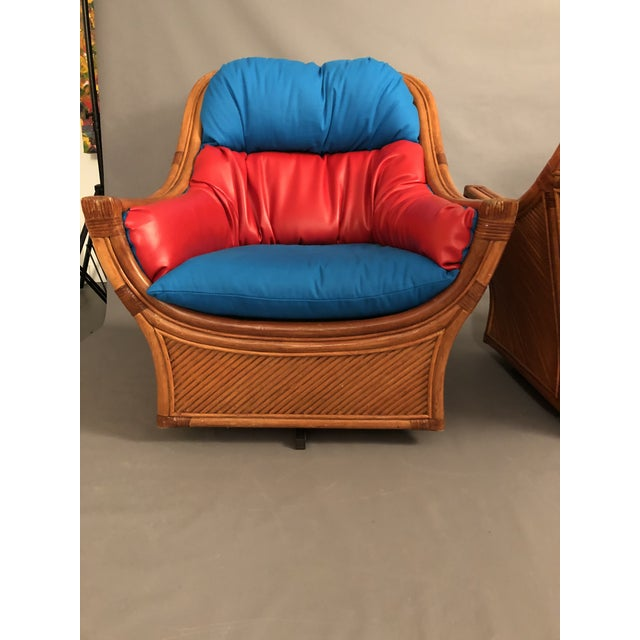 Blue 1960s Mid Century Modern Maguires Style Red and Blue Upholstered Rattan and Bamboo Outdoor Swivel Chairs - a Pair For Sale - Image 8 of 11