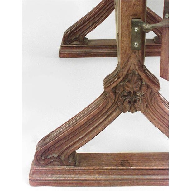 French Art Nouveau Walnut 3 Way Cheval Mirror For Sale - Image 4 of 10