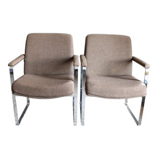 Vintage Mid Century Modern Chrome Armchairs- A Pair For Sale