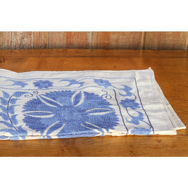 Blue Suzani Tapestry Throw For Sale - Image 4 of 9