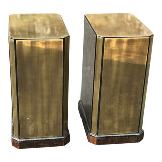 1970s Mid Century Modern Drexel Brass Veneered Table Bases - a Pair For Sale