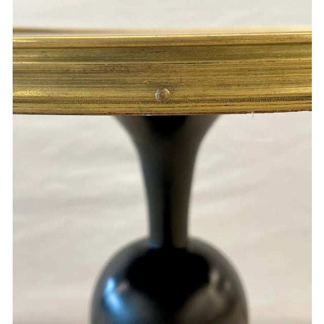 Late 20th Century Mid-Century Modern Style End / Lamp Table Ebony Bronze Base and Rosewood For Sale - Image 5 of 13