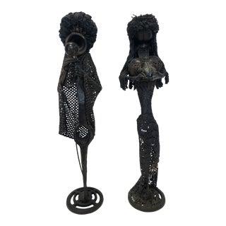 Vintage Brutalist Iron Figural Sculptures - a Pair For Sale