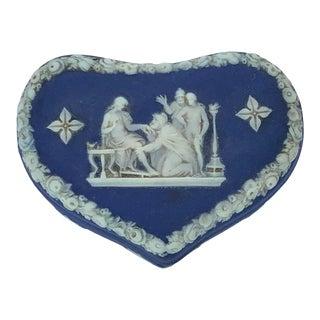 Antique Blue Jasperware Heart Box For Sale