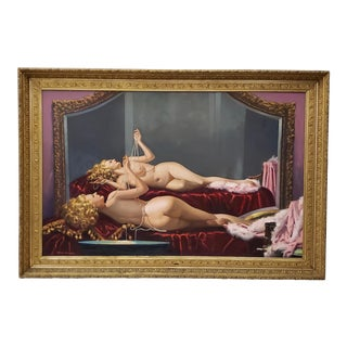Irving Sinclair (1895-1969) Reclining Nude W/ Pearls Original Oil Painting C.1940s For Sale